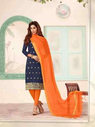 Navy Blue Banarasi Fabric Top With Cotton Bottom Casual Wear Dress Material