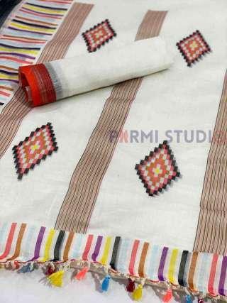 Cream Linen Saree with Multi-Colour Patterns