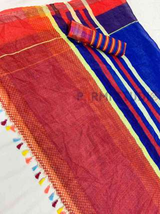 Linen Saree with a Blend of Colours