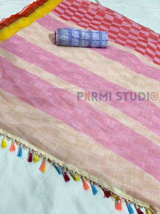 Linen Saree with Beautiful Colours