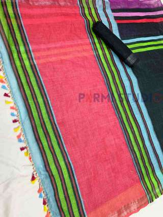 Striped linen saree with a Contrast Blouse