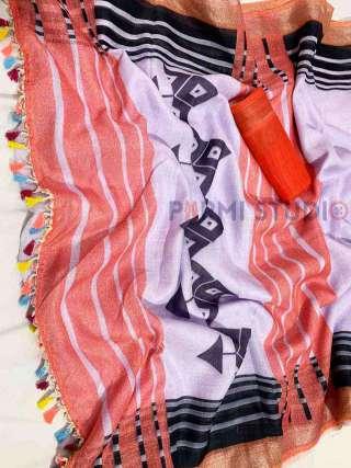Gorgeous Orange and Grey Linen Saree