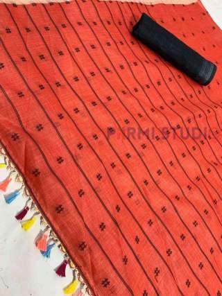 Exquisite Orange Linen Saree