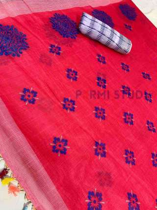 Royal Red Linen Saree with Blue Floral Motifs