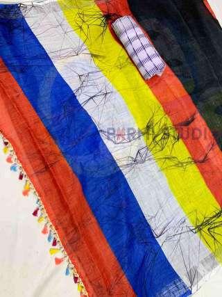 Bright Contemporary Linen Saree