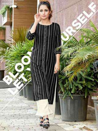 Black Colored Rayon Fabric Casual Wear Kurti