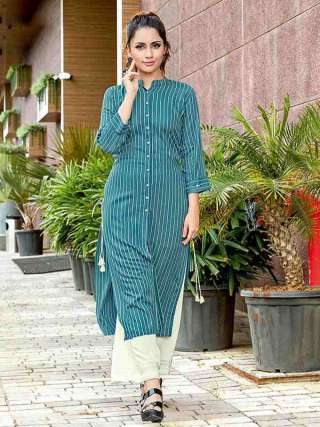 Blue Colored Rayon Fabric Casual Wear Kurti