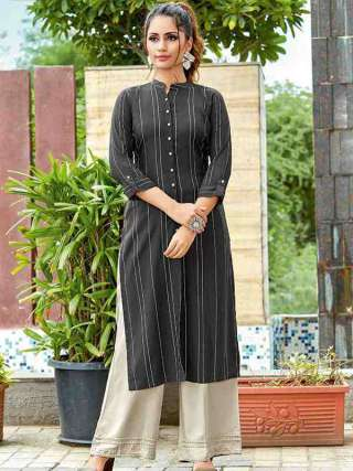Black Colored Rayon Fabric Casual Wear Kurti For Girl