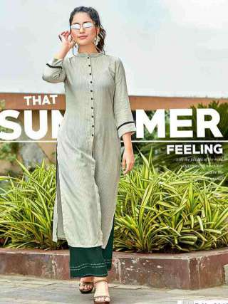 Pastel Green Colored Rayon Fabric Casual Wear Kurti For Girl