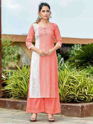 Light Peach Colored Rayon Fabric Casual Wear Kurti For Girl