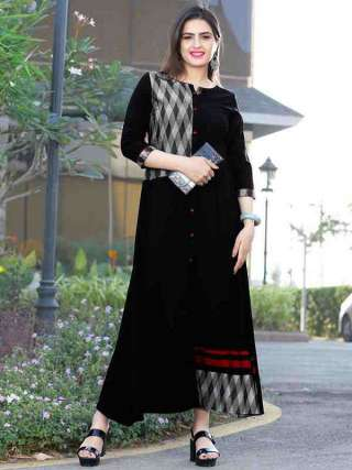 Black Colored Rayon Fabric Beautiful Long Gown Kurti