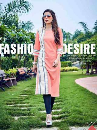 Lovely Light Peach Colored Rayon Fabric Kurti
