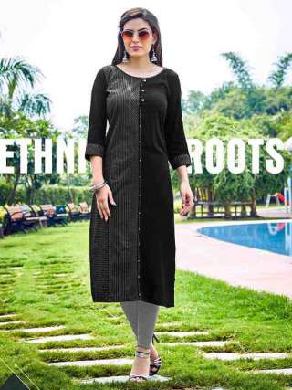 Pretty Black Colored Rayon Fabric Kurti