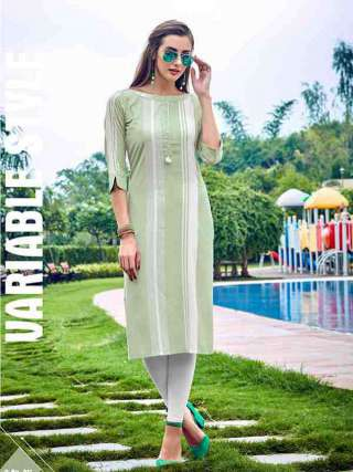 Gorgeous Light Pista Green Colored Rayon Fabric Kurti