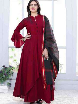 Exotic Maroon Colored Designer Maslin Gown With Dupatta