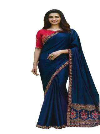 Blue Sana Silk Fabric With Embroidery Work Saree With Banglory Silk Unstitched Blouse - NetrSari382