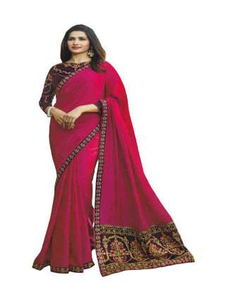 Pink Shade Sana Silk Fabric With Embroidery Work Saree With Banglory Silk Unstitched Blouse - NetrSari384