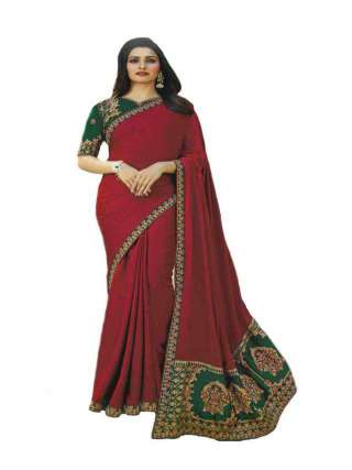 Red Shade Sana Silk Fabric With Embroidery Work Saree With Banglory Silk Unstitched Blouse - NetrSari385