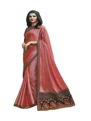 Onion Pink Shade Sana Silk Fabric With Embroidery Work Saree With Banglory Silk Unstitched Blouse - NetrSari386