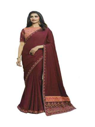 Maroon Sana Silk Fabric With Embroidery Work Saree With Banglory Silk Unstitched Blouse - NetrSari387