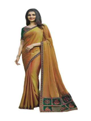 Beige Sana Silk Fabric With Embroidery Work Saree With Banglory Silk Unstitched Blouse - NetrSari388