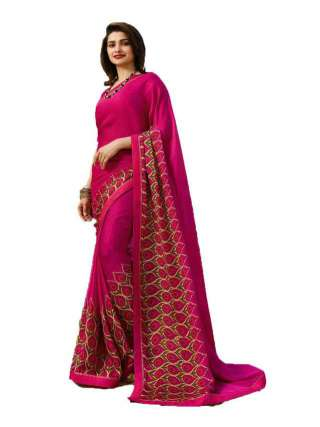 Casual Printed Major Georgette Saree With Unstitched Banglory Silk Blouse Piece - NetrSari411