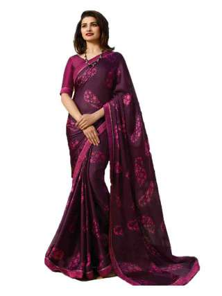 Casual Printed Major Georgette Saree With Unstitched Banglory Silk Blouse Piece - NetrSari412