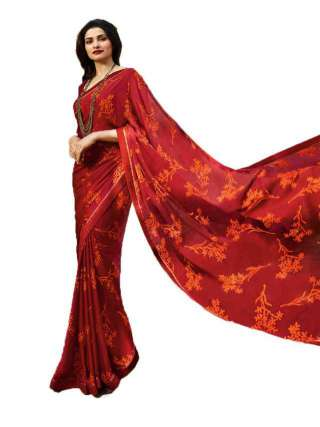 Casual Printed Major Georgette Saree With Unstitched Banglory Silk Blouse Piece - NetrSari413