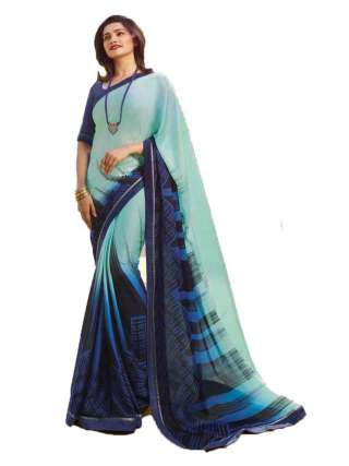 Casual Printed Major Georgette Saree With Unstitched Banglory Silk Blouse Piece - NetrSari415