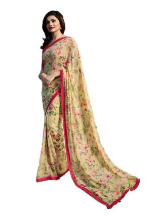 Casual Printed Major Georgette Saree With Unstitched Banglory Silk Blouse Piece - NetrSari426