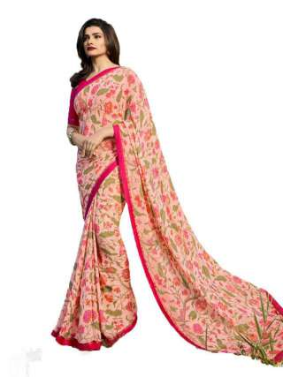 Casual Printed Major Georgette Saree With Unstitched Banglory Silk Blouse Piece - NetrSari429