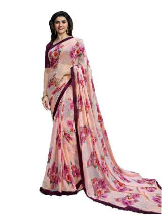 Casual Printed Major Georgette Saree With Unstitched Banglory Silk Blouse Piece - NetrSari430