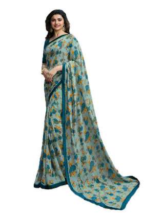 Casual Printed Major Georgette Saree With Unstitched Banglory Silk Blouse Piece - NetrSari431