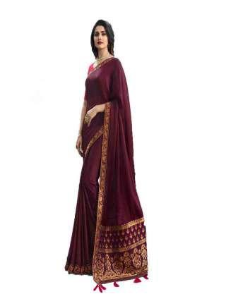 Magenta Rangoli Silk With Jacquard Work Saree With Banglory Silk Unstitched Blouse Piece - NetrSari436