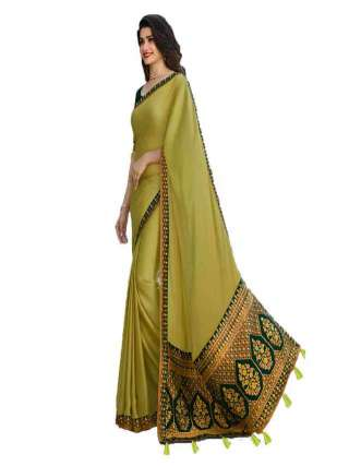 Green Rangoli Silk With Jacquard Work Saree With Banglory Silk Unstitched Blouse Piece - NetrSari437