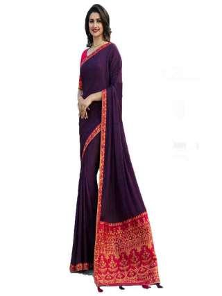 Purple Rangoli Silk With Jacquard Work Saree With Banglory Silk Unstitched Blouse Piece - NetrSari438