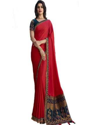 Red Rangoli Silk With Jacquard Work Saree With Banglory Silk Unstitched Blouse Piece - NetrSari439
