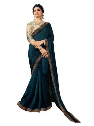 Morpich Blue Rangoli Silk Saree With Unstitched Banglory Silk Blouse - NetrSari451