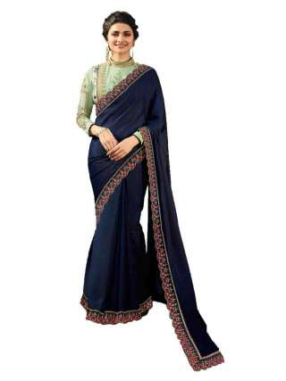 Blue Rangoli Silk Saree With Unstitched Banglory Silk Blouse - NetrSari452