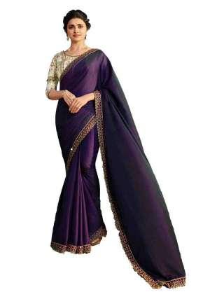 Purple Rangoli Silk Saree With Unstitched Banglory Silk Blouse - NetrSari453