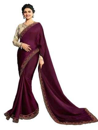 Magenta Rangoli Silk Saree With Unstitched Banglory Silk Blouse - NetrSari455