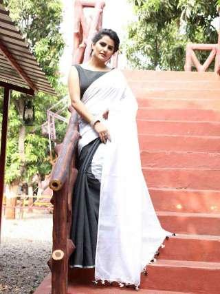 Elegant Grey and White Khadi Cotton Saree