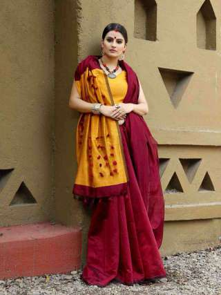 Subtly Beautiful Maroon Khadi Cotton Saree