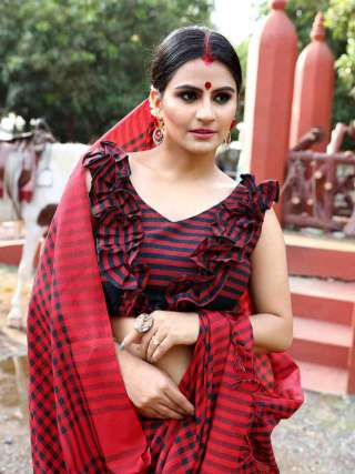 Gorgeous Maroon Khadi Cotton Saree