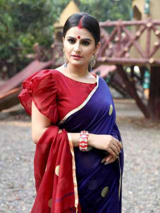 Charming Blue and Red Khadi Cotton Saree