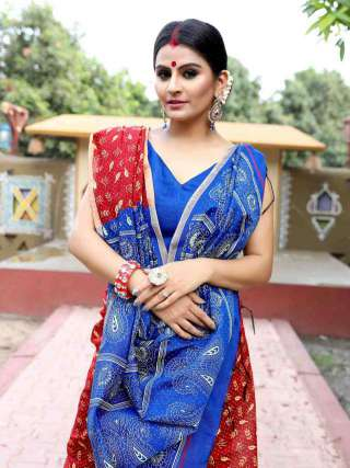 Printed Blue and Red Khadi Cotton Saree