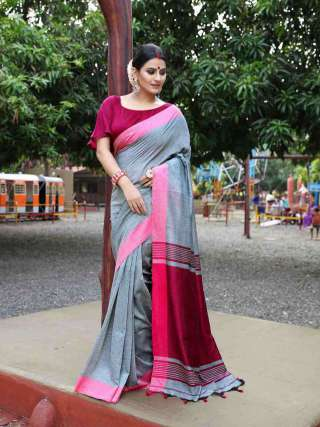 Enigmatic Grey and Pink Khadi Cotton Saree
