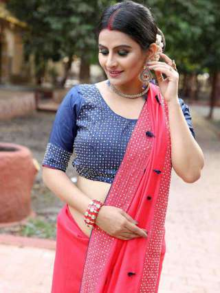 Pink Silk Saree with Stone Work