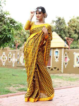 Sunny Yellow and Black Khadi Cotton Saree