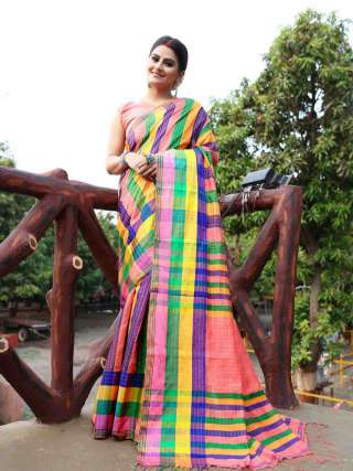 Khadi Cotton Saree in Multicolour
